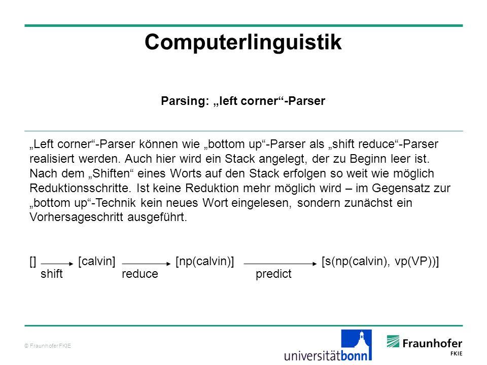 """Parsing: """"left corner -Parser"""