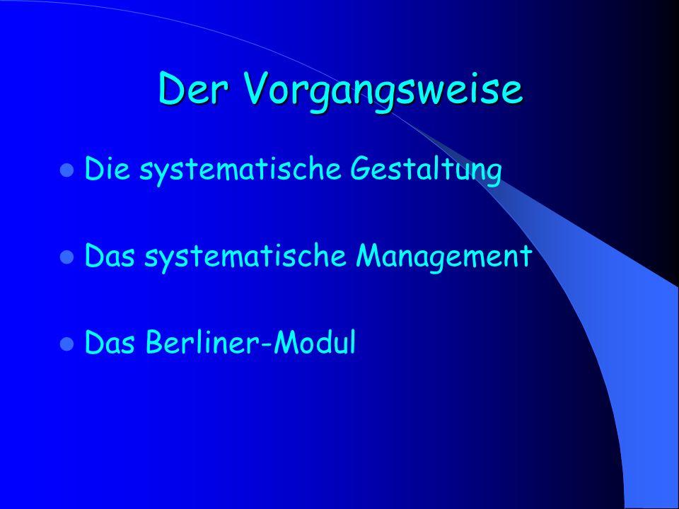 Der Vorgangsweise Die systematische Gestaltung
