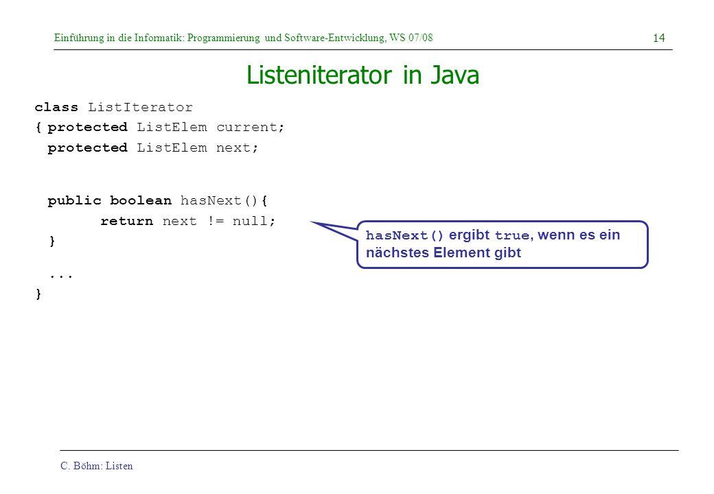 Listeniterator in Java