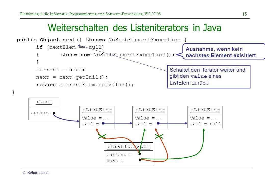 Weiterschalten des Listeniterators in Java