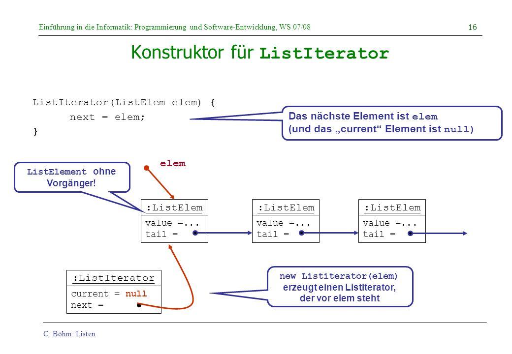 Konstruktor für ListIterator