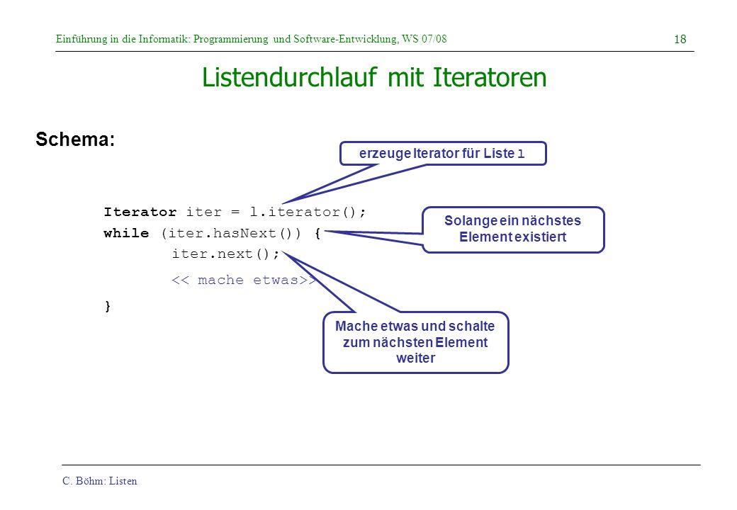 Listendurchlauf mit Iteratoren