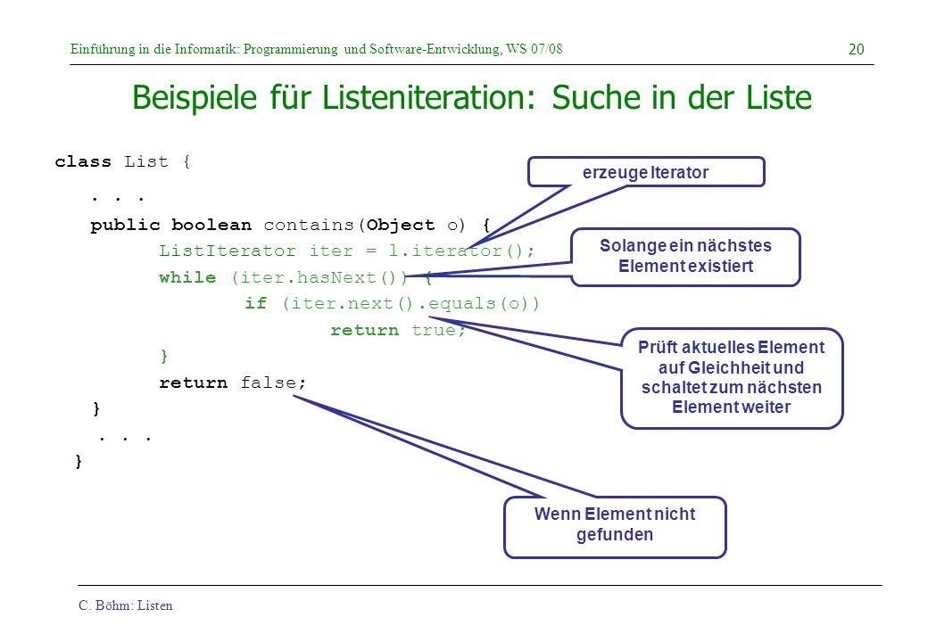 Beispiele für Listeniteration: Suche in der Liste