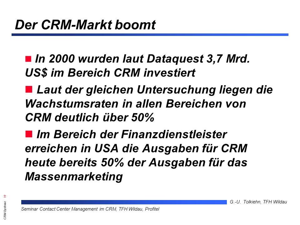 Der CRM-Markt boomt In 2000 wurden laut Dataquest 3,7 Mrd. US$ im Bereich CRM investiert.
