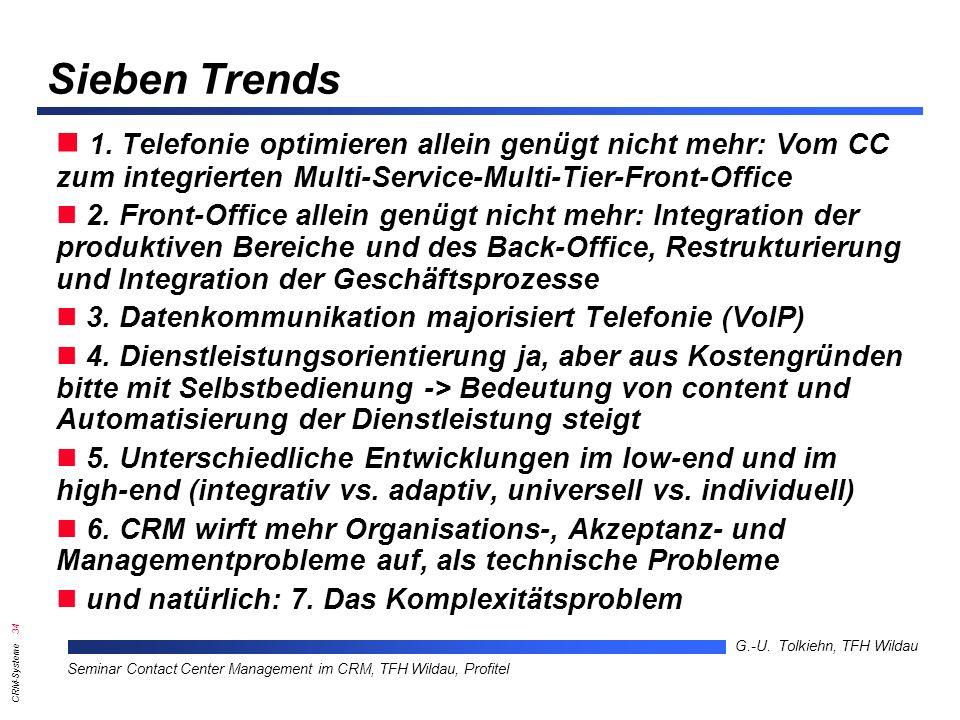 Sieben Trends 1. Telefonie optimieren allein genügt nicht mehr: Vom CC zum integrierten Multi-Service-Multi-Tier-Front-Office.