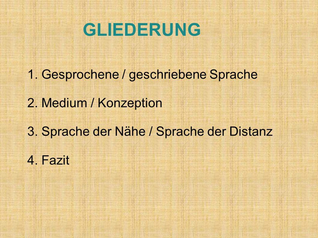 GLIEDERUNG 1. Gesprochene / geschriebene Sprache