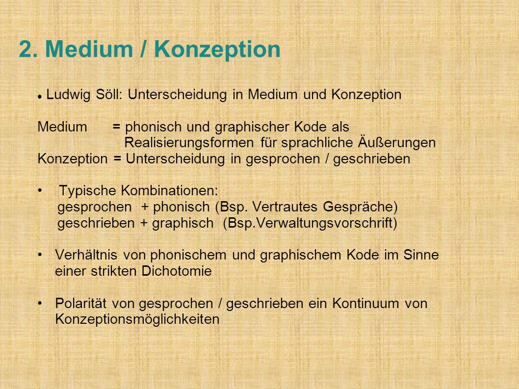 2. Medium / Konzeption Ludwig Söll: Unterscheidung in Medium und Konzeption.