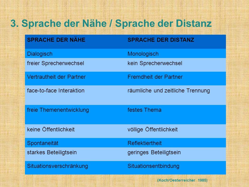 3. Sprache der Nähe / Sprache der Distanz