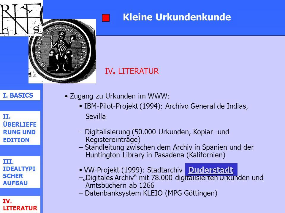 Kleine Urkundenkunde IV. LITERATUR Duderstadt