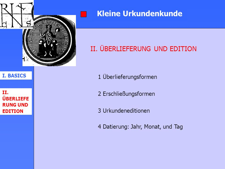 Kleine Urkundenkunde II. ÜBERLIEFERUNG UND EDITION