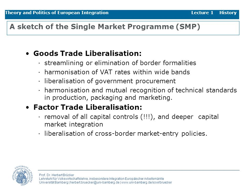 A sketch of the Single Market Programme (SMP)