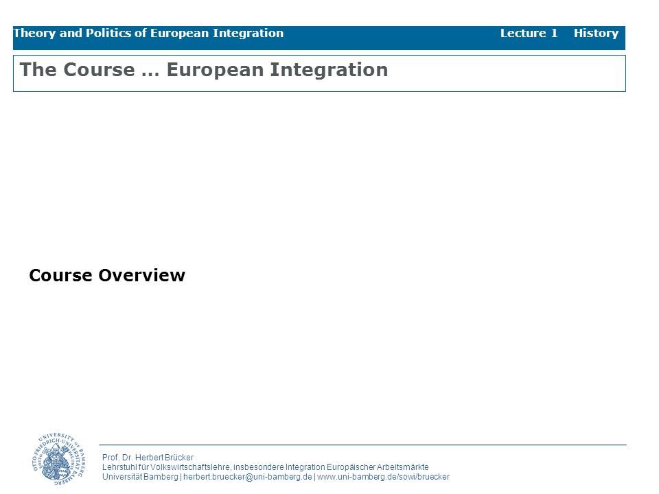 The Course … European Integration