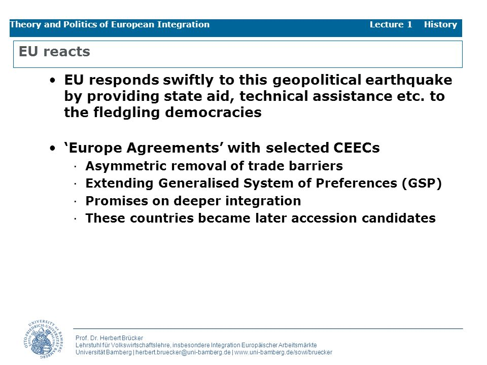 'Europe Agreements' with selected CEECs