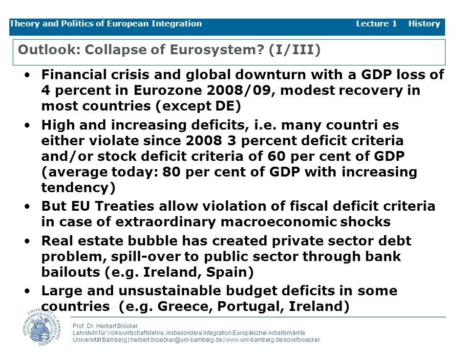 Outlook: Collapse of Eurosystem (I/III)
