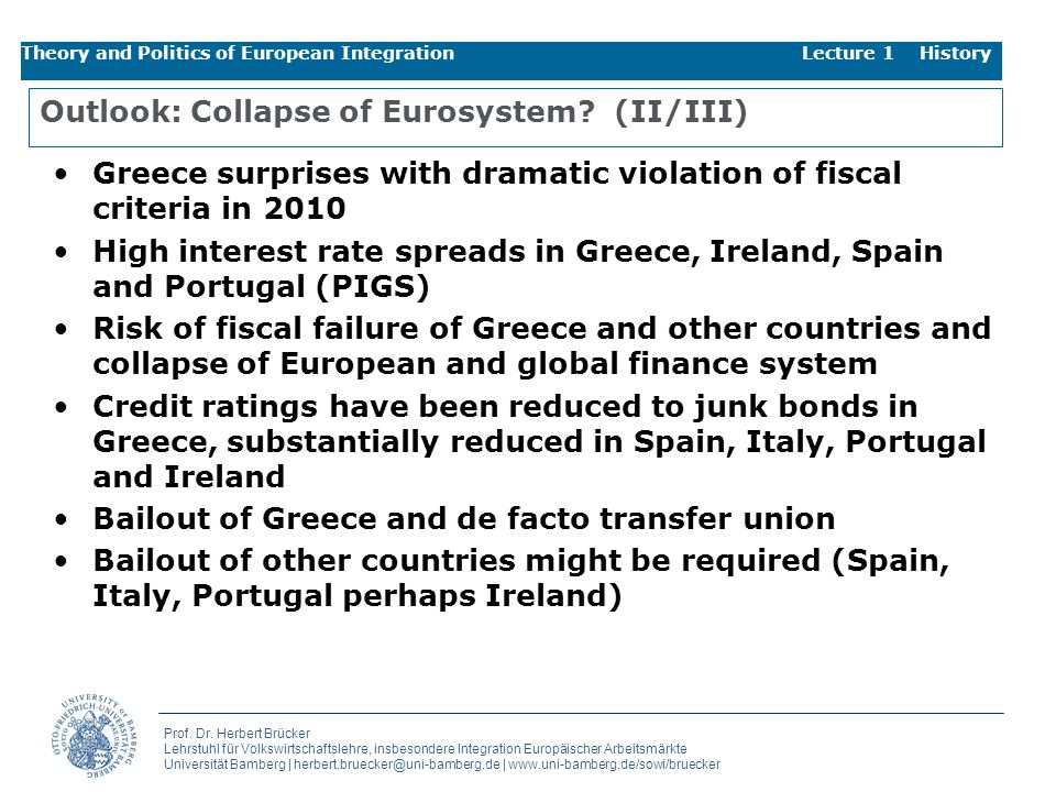 Outlook: Collapse of Eurosystem (II/III)