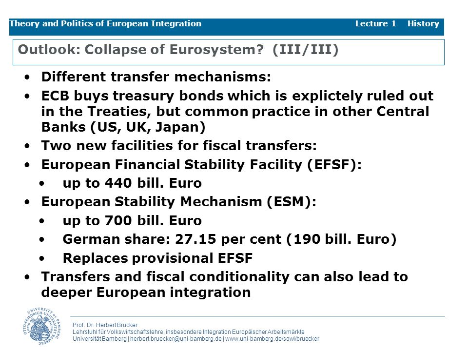 Outlook: Collapse of Eurosystem (III/III)