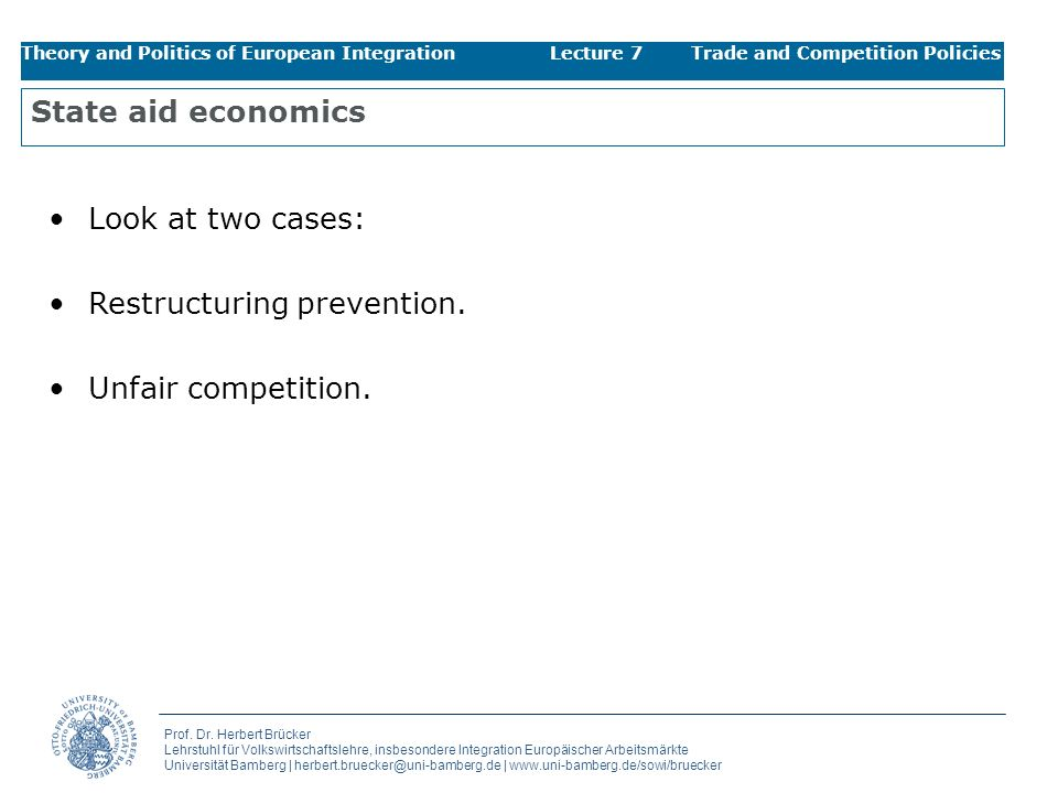 Restructuring prevention. Unfair competition.