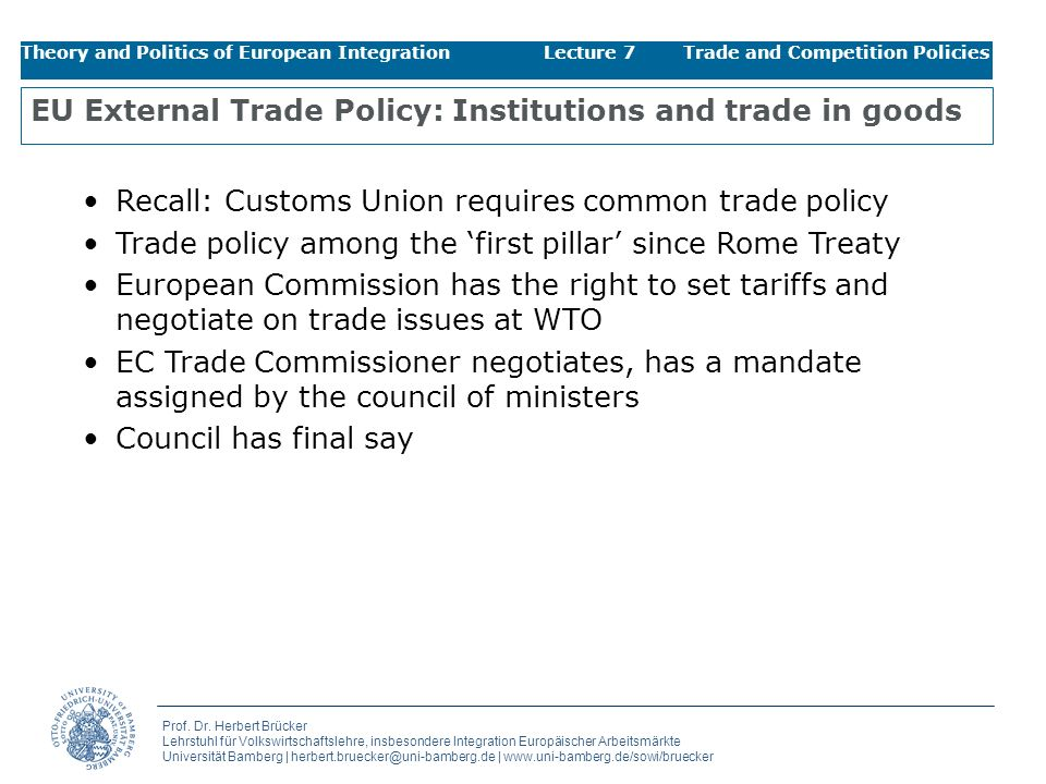 EU External Trade Policy: Institutions and trade in goods