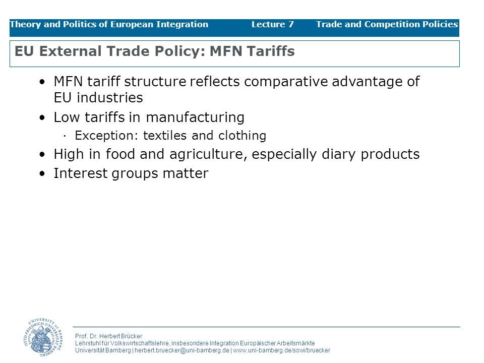 EU External Trade Policy: MFN Tariffs