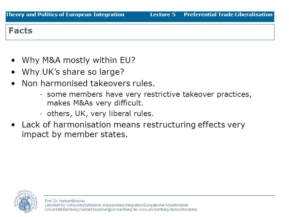 Why M&A mostly within EU Why UK's share so large