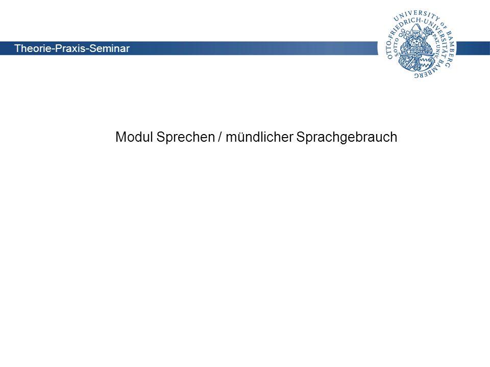 Modul Sprechen / mündlicher Sprachgebrauch