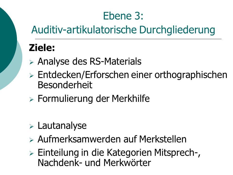 Ebene 3: Auditiv-artikulatorische Durchgliederung