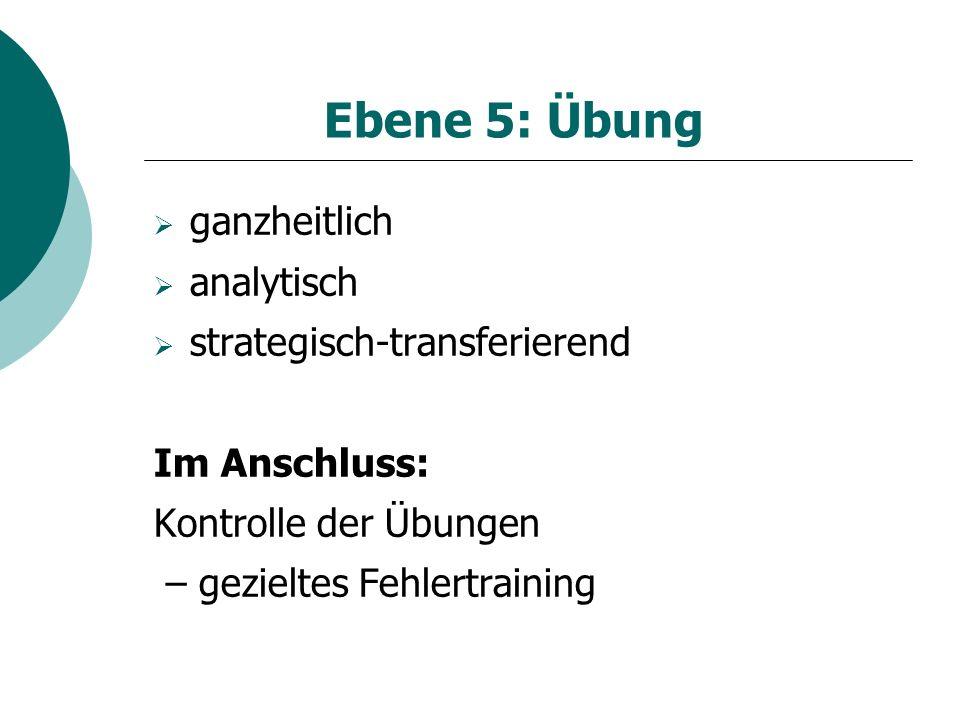 Ebene 5: Übung ganzheitlich analytisch strategisch-transferierend
