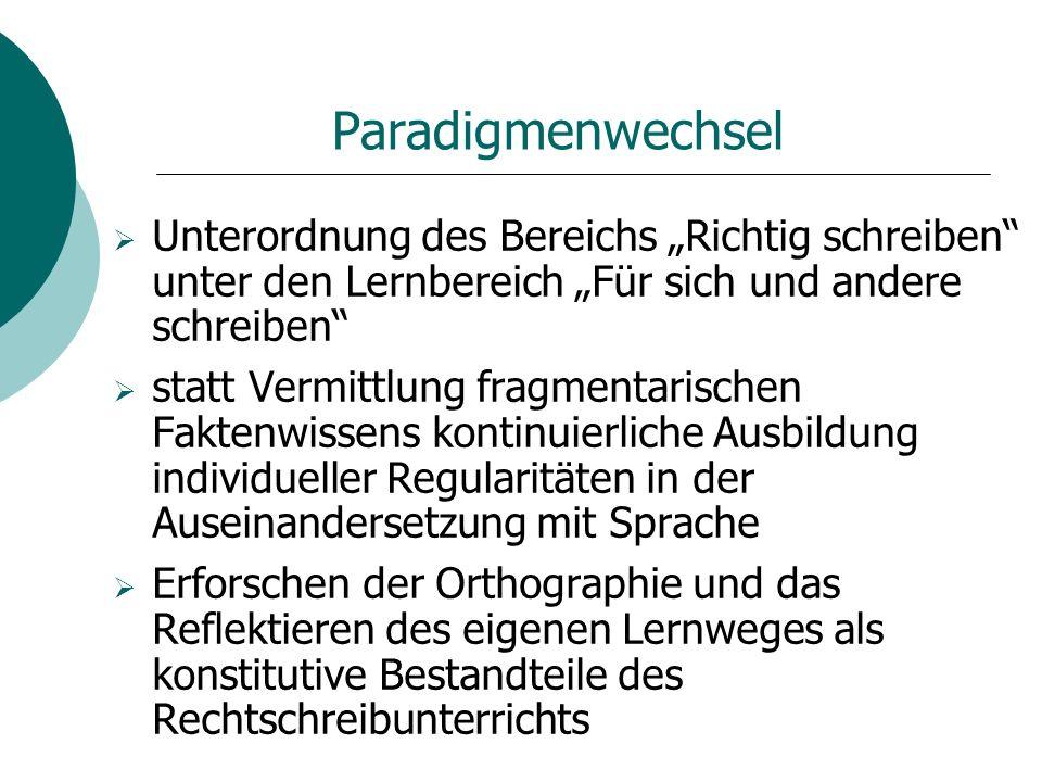 """Paradigmenwechsel Unterordnung des Bereichs """"Richtig schreiben unter den Lernbereich """"Für sich und andere schreiben"""