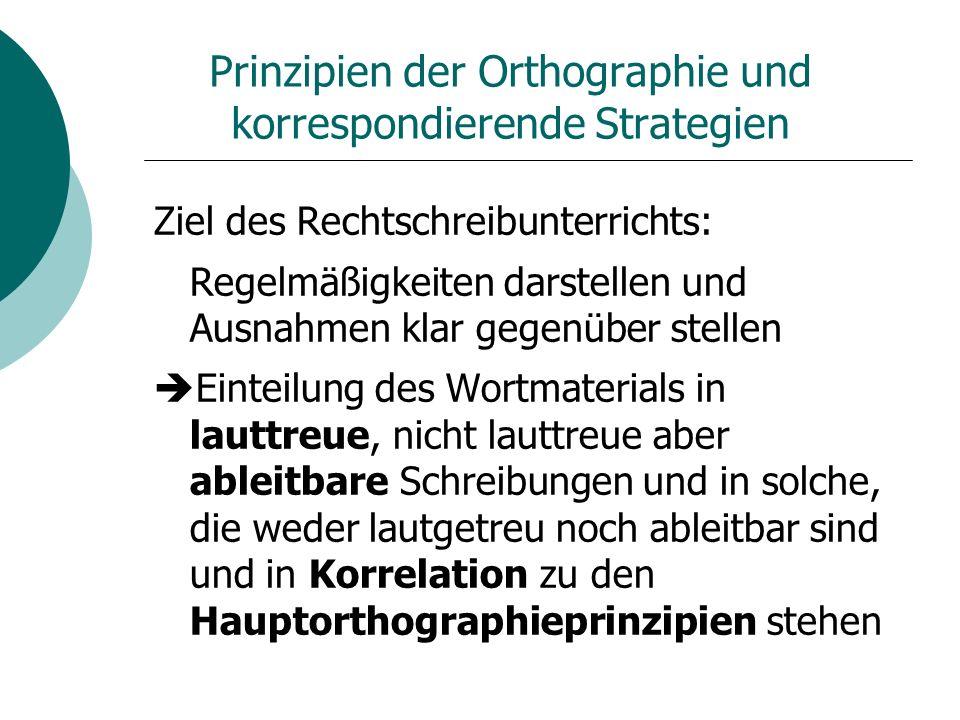 Prinzipien der Orthographie und korrespondierende Strategien