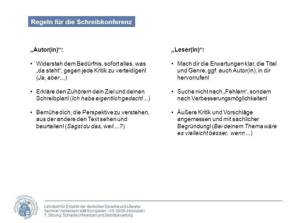 Regeln für die Schreibkonferenz