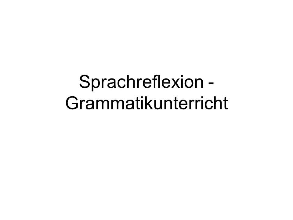 Sprachreflexion - Grammatikunterricht