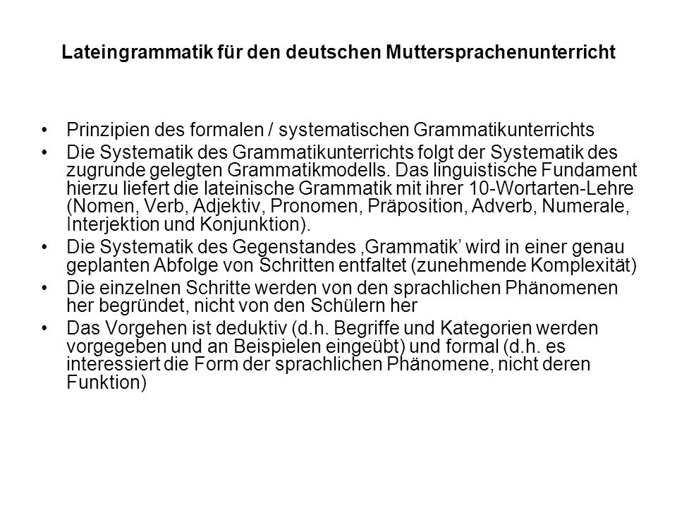 Lateingrammatik für den deutschen Muttersprachenunterricht