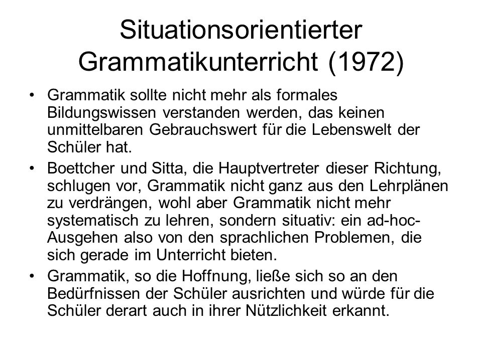 Situationsorientierter Grammatikunterricht (1972)