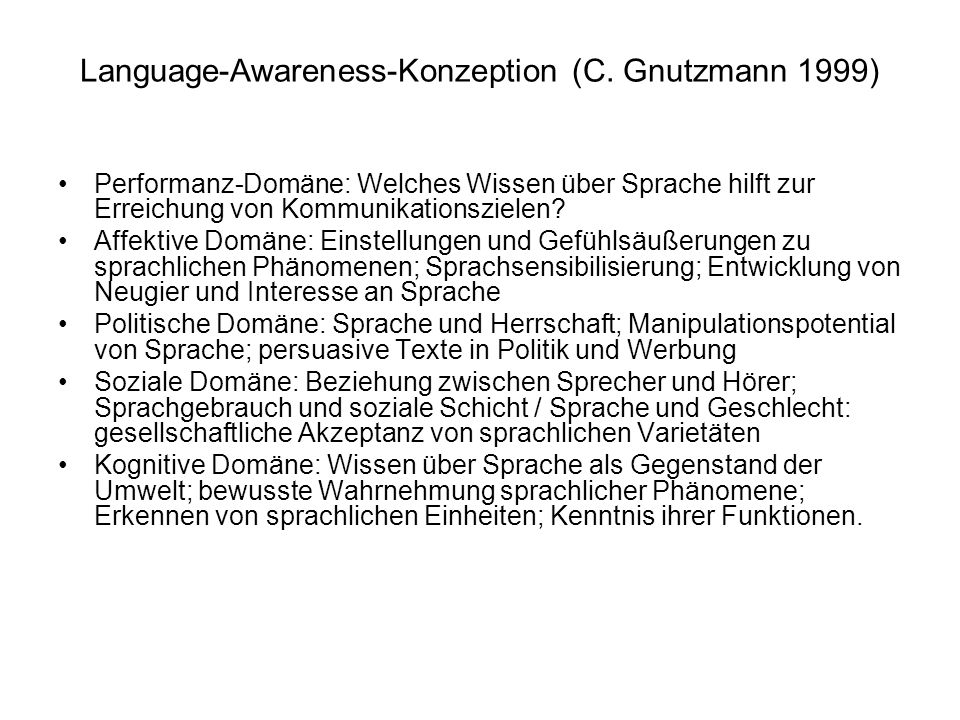 Language-Awareness-Konzeption (C. Gnutzmann 1999)