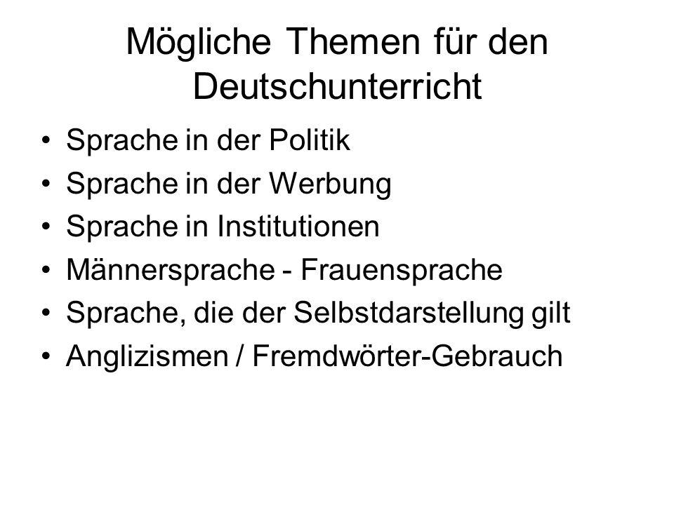Mögliche Themen für den Deutschunterricht