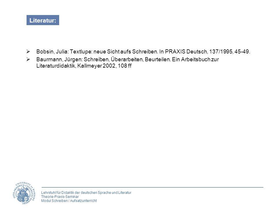 Literatur: Bobsin, Julia: Textlupe: neue Sicht aufs Schreiben. In PRAXIS Deutsch, 137/1995, 45-49.