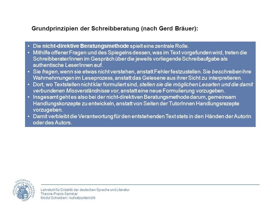 Grundprinzipien der Schreibberatung (nach Gerd Bräuer):