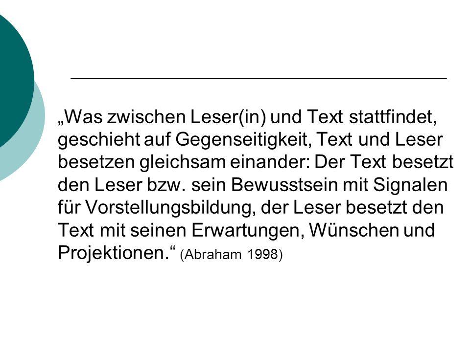 """""""Was zwischen Leser(in) und Text stattfindet, geschieht auf Gegenseitigkeit, Text und Leser besetzen gleichsam einander: Der Text besetzt den Leser bzw."""
