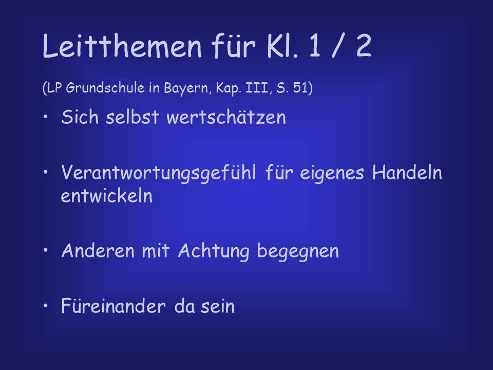 Leitthemen für Kl. 1 / 2 (LP Grundschule in Bayern, Kap. III, S. 51)