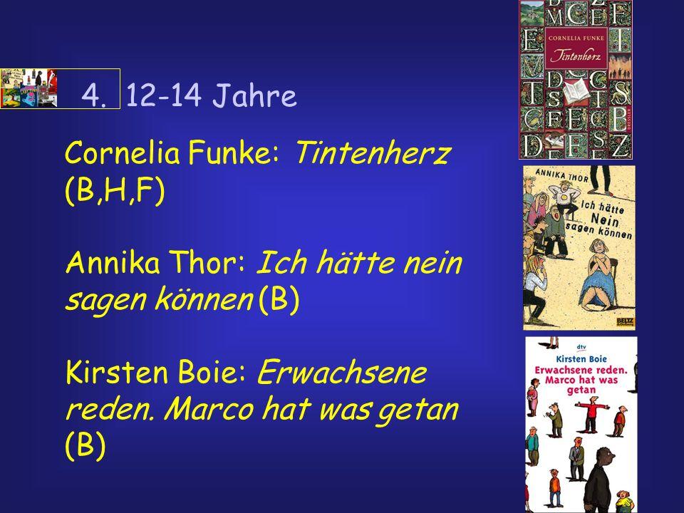 4. 12-14 JahreCornelia Funke: Tintenherz (B,H,F) Annika Thor: Ich hätte nein sagen können (B)
