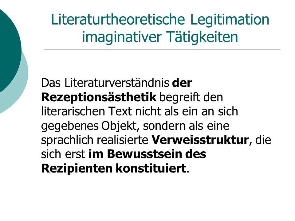Literaturtheoretische Legitimation imaginativer Tätigkeiten