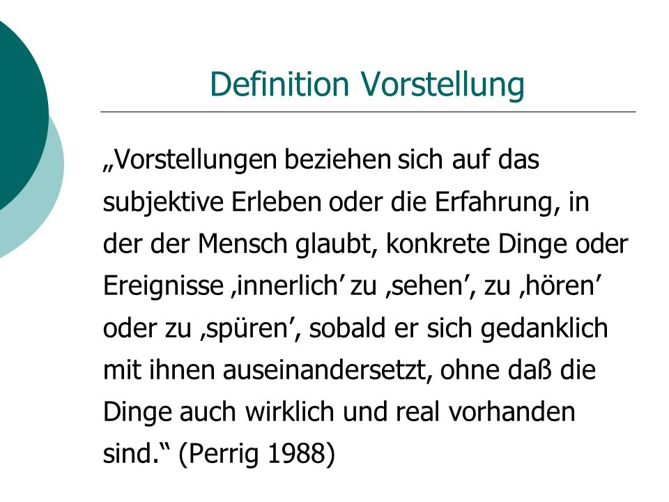 Definition Vorstellung