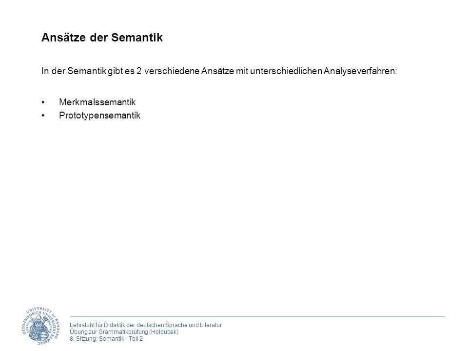 Ansätze der Semantik In der Semantik gibt es 2 verschiedene Ansätze mit unterschiedlichen Analyseverfahren: