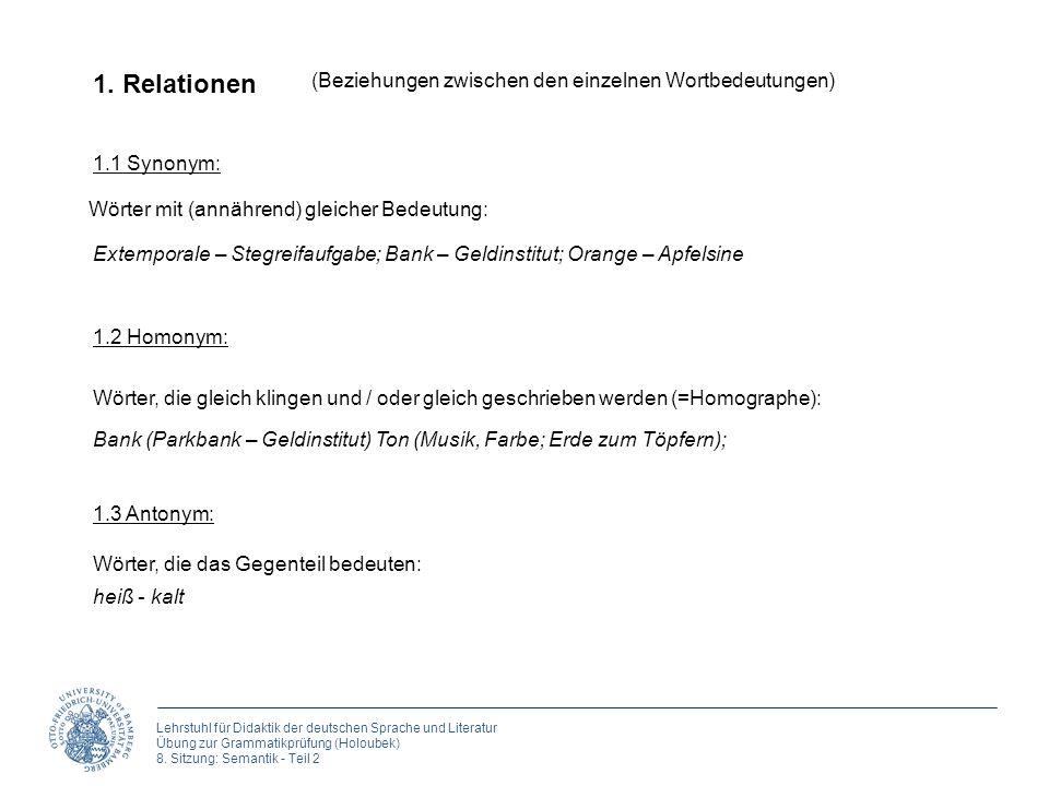 1. Relationen (Beziehungen zwischen den einzelnen Wortbedeutungen)