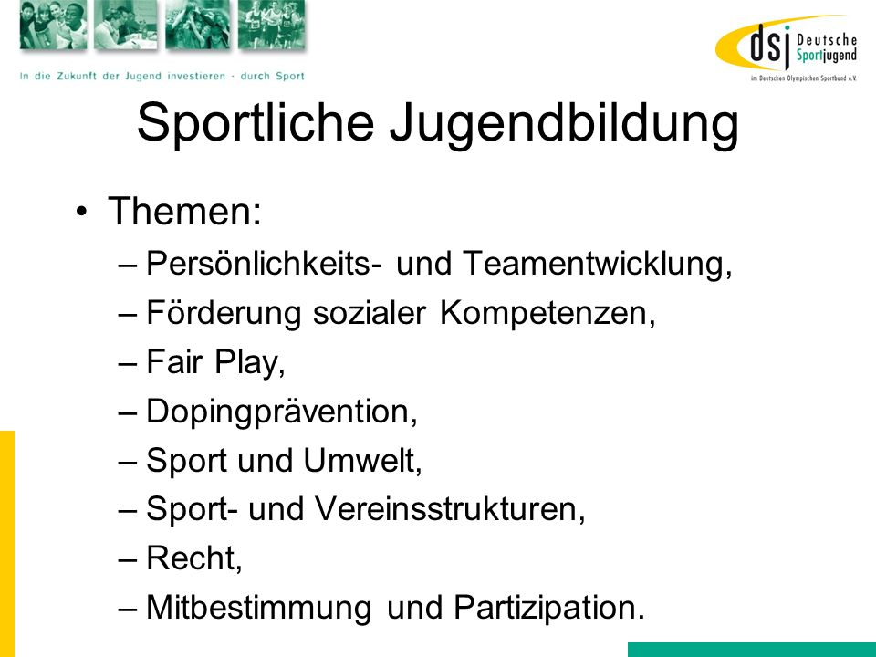 Sportliche Jugendbildung