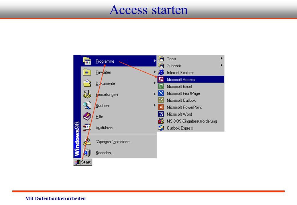Access starten Mit Datenbanken arbeiten