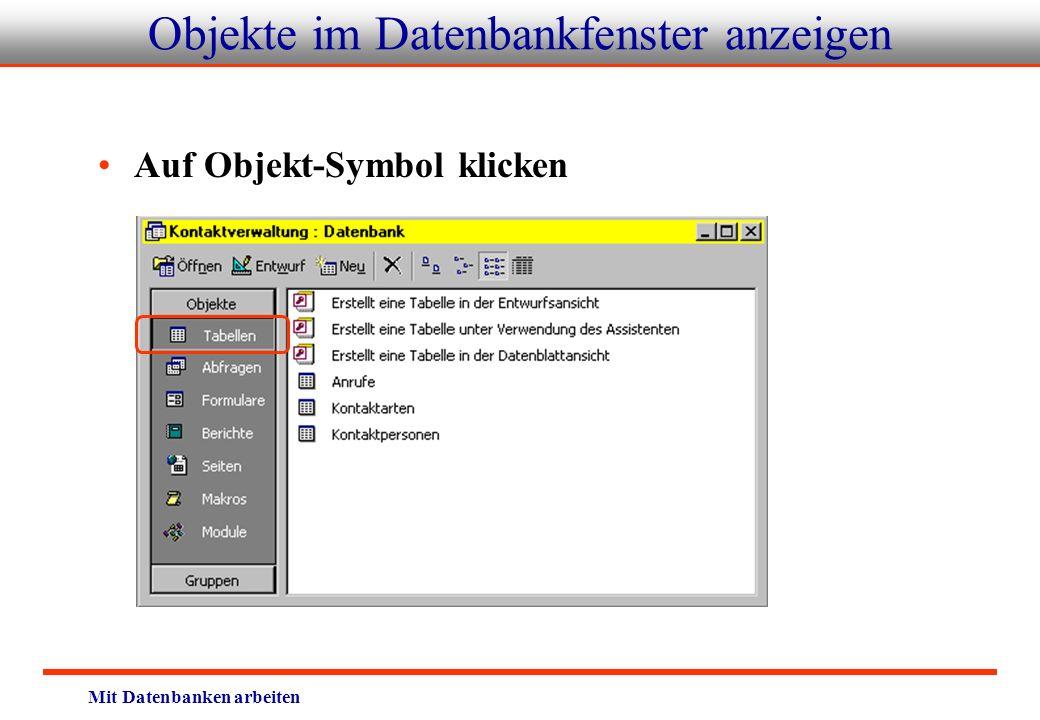 Objekte im Datenbankfenster anzeigen