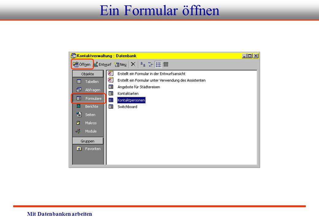 Ein Formular öffnen Mit Datenbanken arbeiten