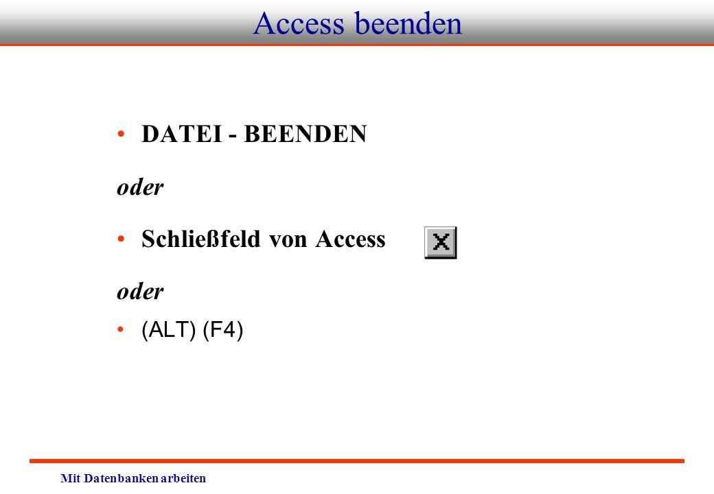 Access beenden DATEI - BEENDEN oder Schließfeld von Access (ALT) (F4)
