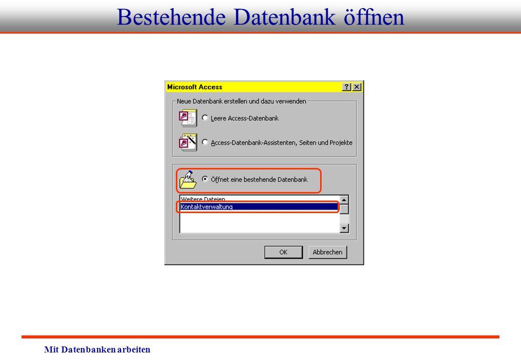 Bestehende Datenbank öffnen
